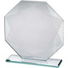 SILVER EDGED OCTAGON GLASS (16CM)