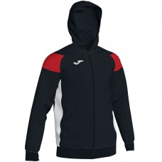 CREW III HOODED FZ POLY JACKET (BLACK-RED)